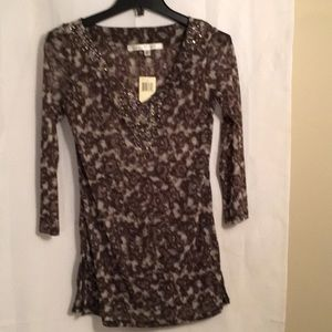 Brown multi print top with beaded detail
